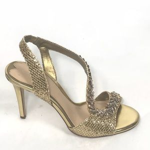 Gianni Bini Goldtone Sparkle Heels Size 8